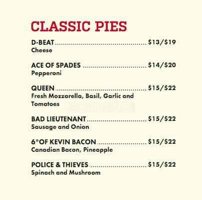 Sizzle Pie Menu For Pearl District Portland