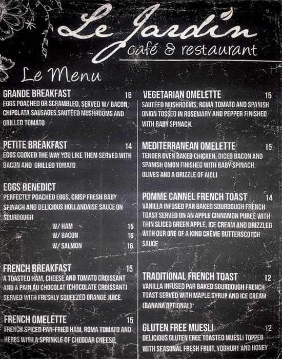 Le Jardin Cafe Restaurant Menu Urbanspoon Zomato