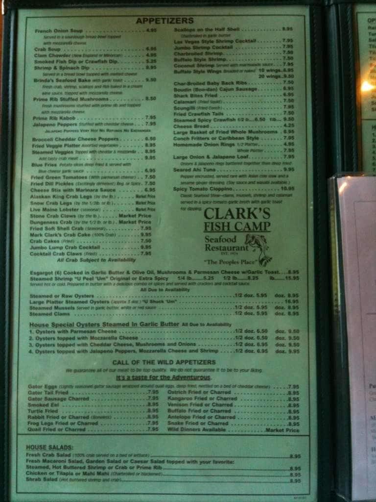 Clark 39 s fish camp menu menu restauracji clark 39 s fish camp for Two fish menu