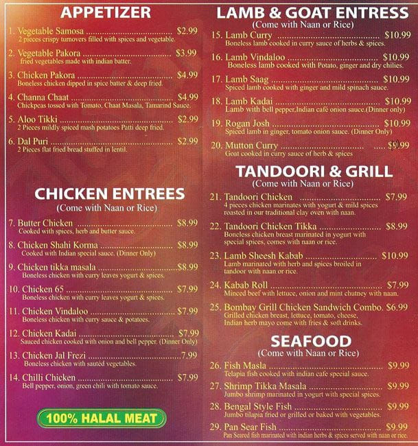 Indian Cafe Irving Menu