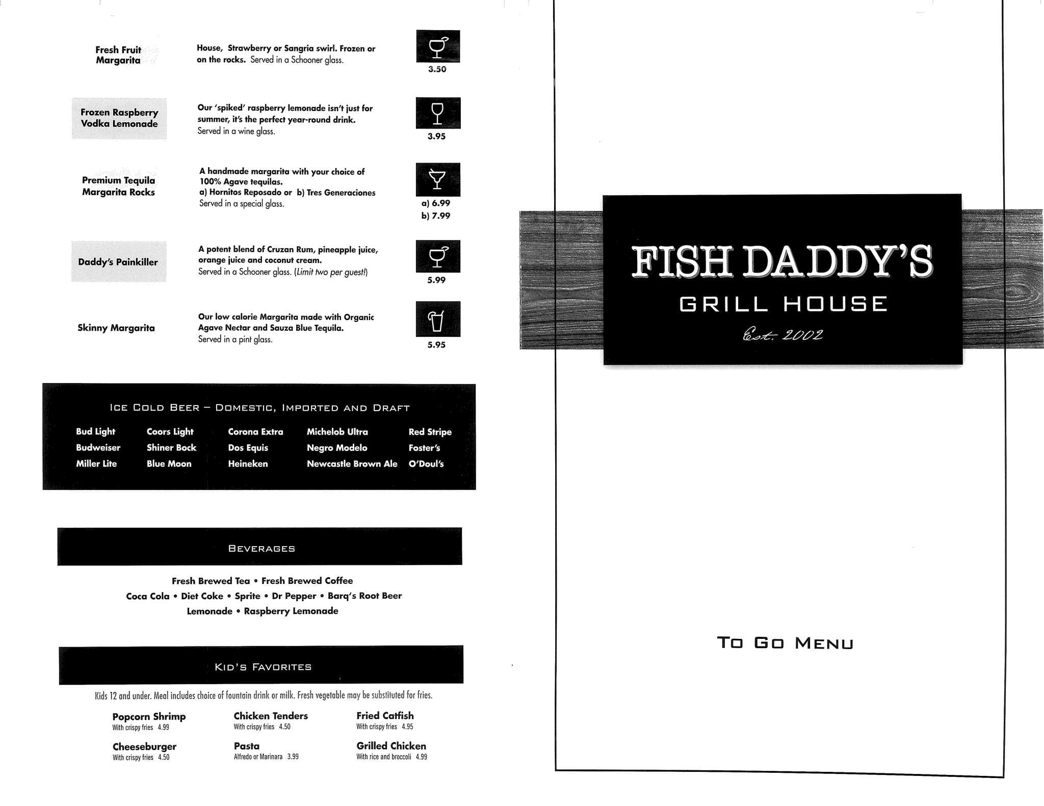 menu at fish daddy 39 s 10624 e 71st st restaurant prices