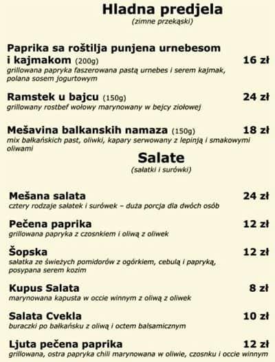 Bałkańska Dusza Menu Menu Restauracji Bałkańska Dusza
