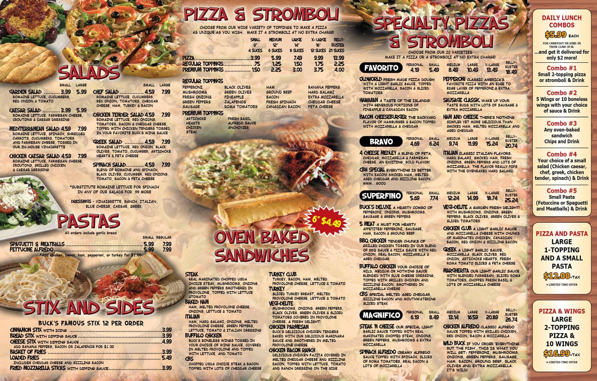 Buck S Pizza Menu Menu For Buck S Pizza Mcallen Mcallen