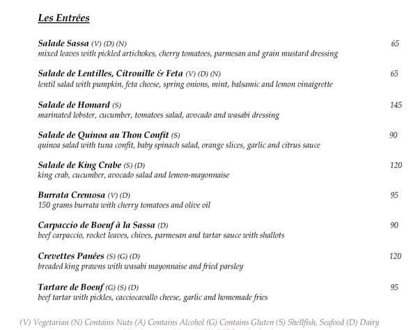 Sass Cafe Prices