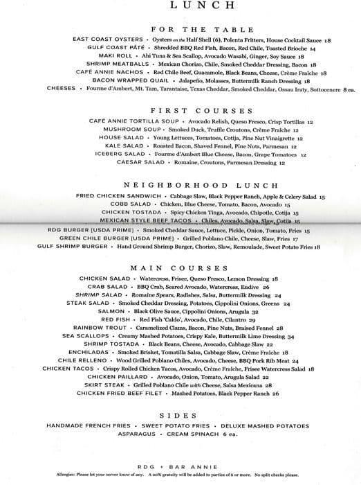 cafe annie menu menu for cafe annie galleria houston