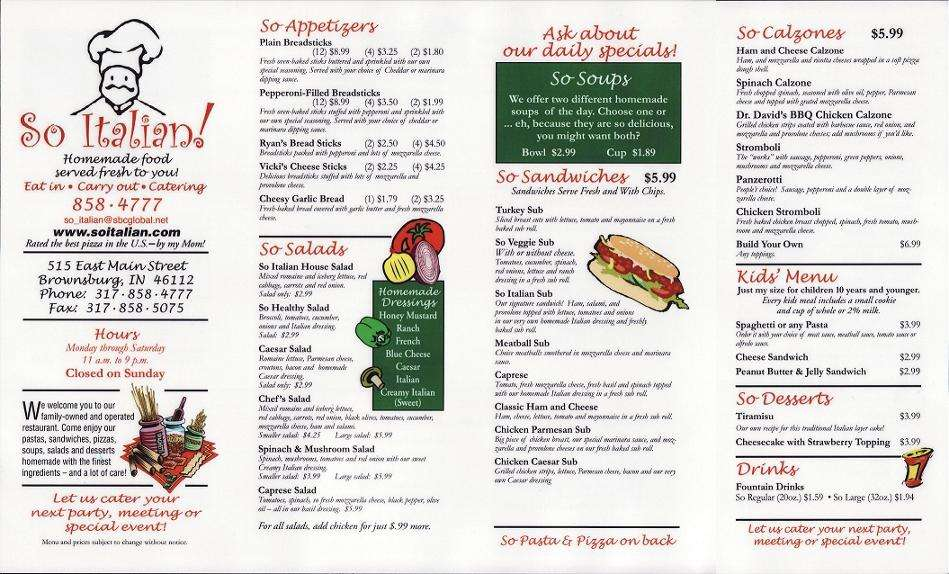 So Italian! Menu, Menu For So Italian!, Brownsburg, Indianapolis