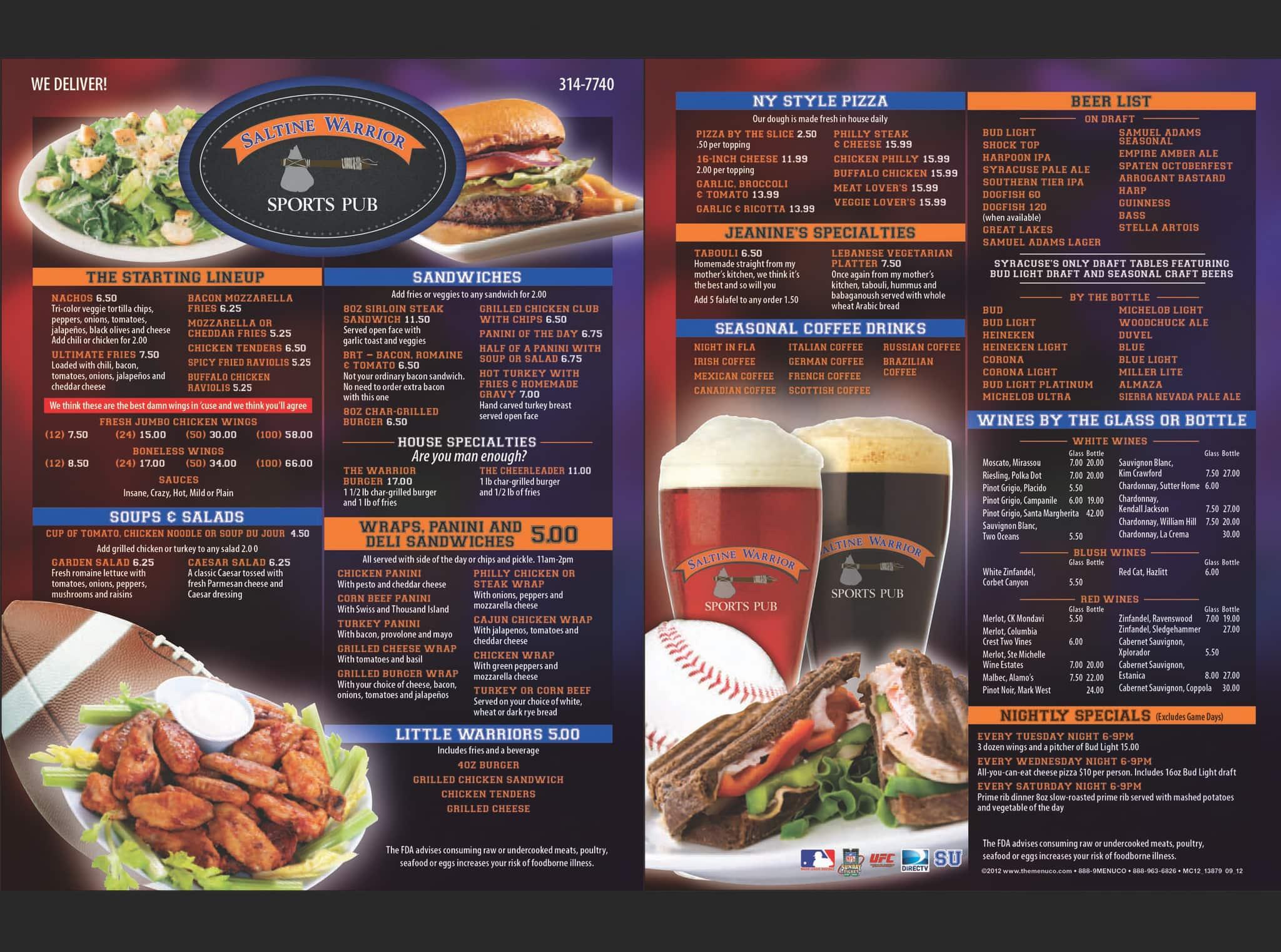 Saltine warrior sports pub menu urbanspoon zomato for The food bar zomato