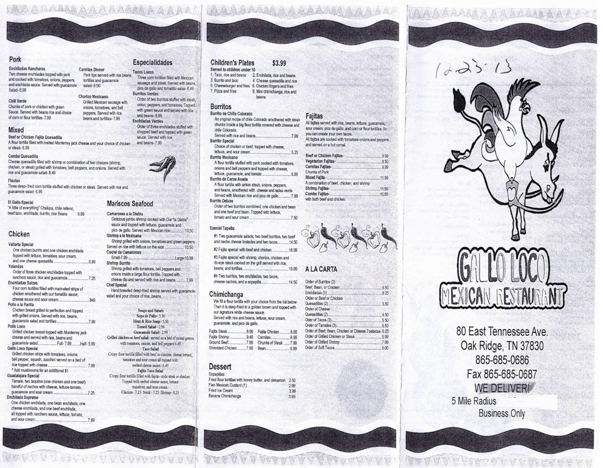 Gallo Loco Mexican Restaurant Oak Ridge Menu
