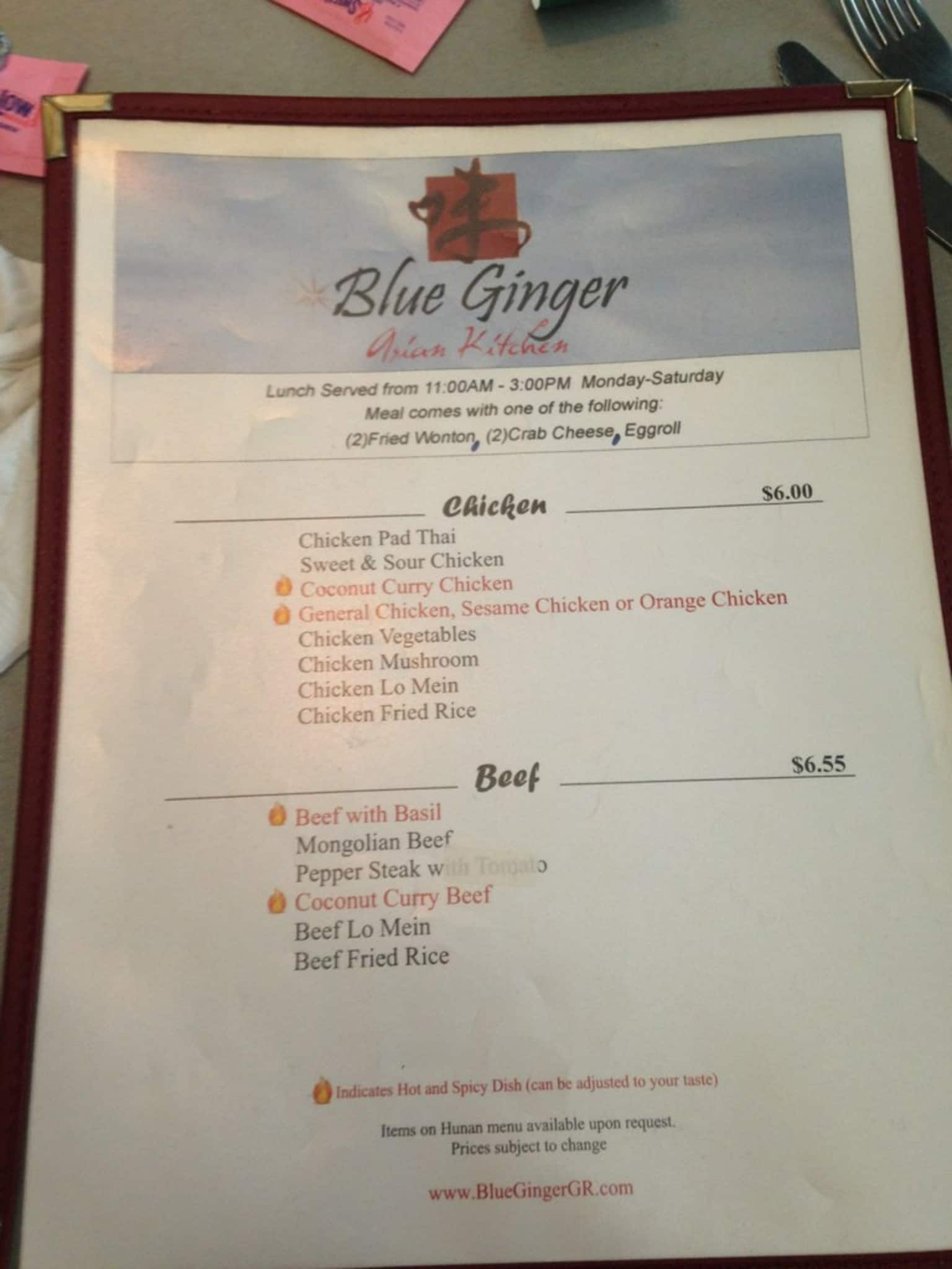 Menu at Blue Ginger Asian Kitchen restaurant, Wyoming