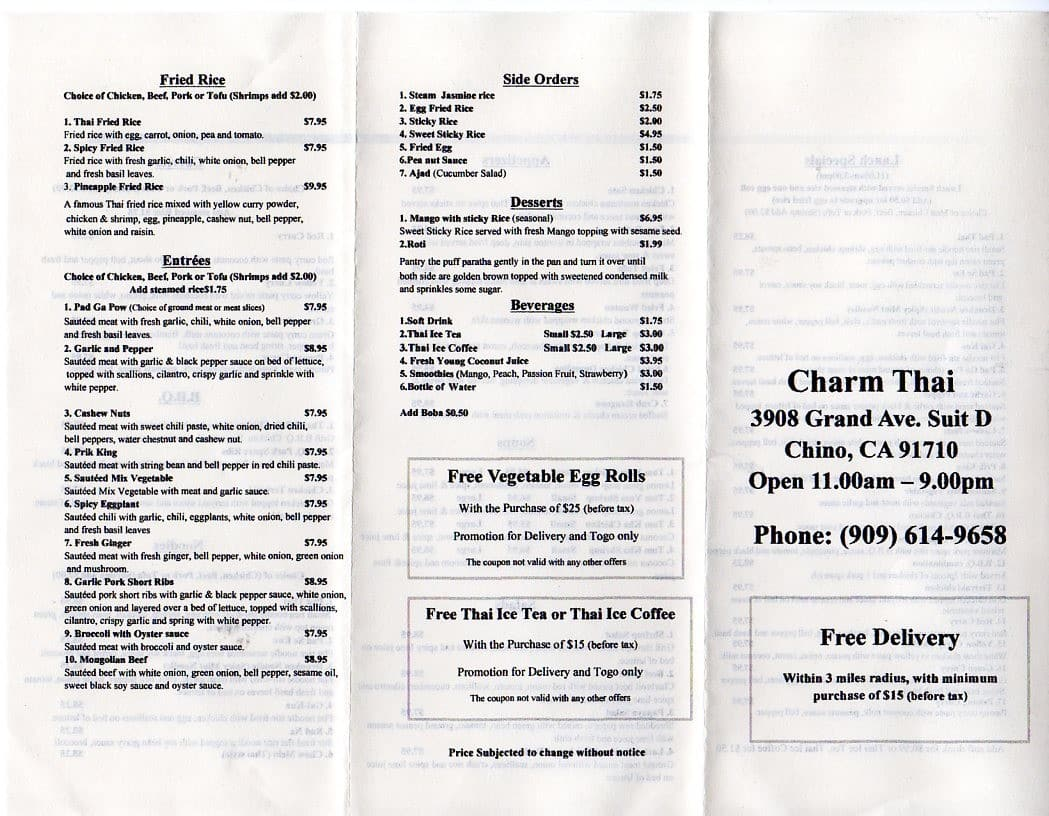 charm thai menu menu for charm thai chino inland empire