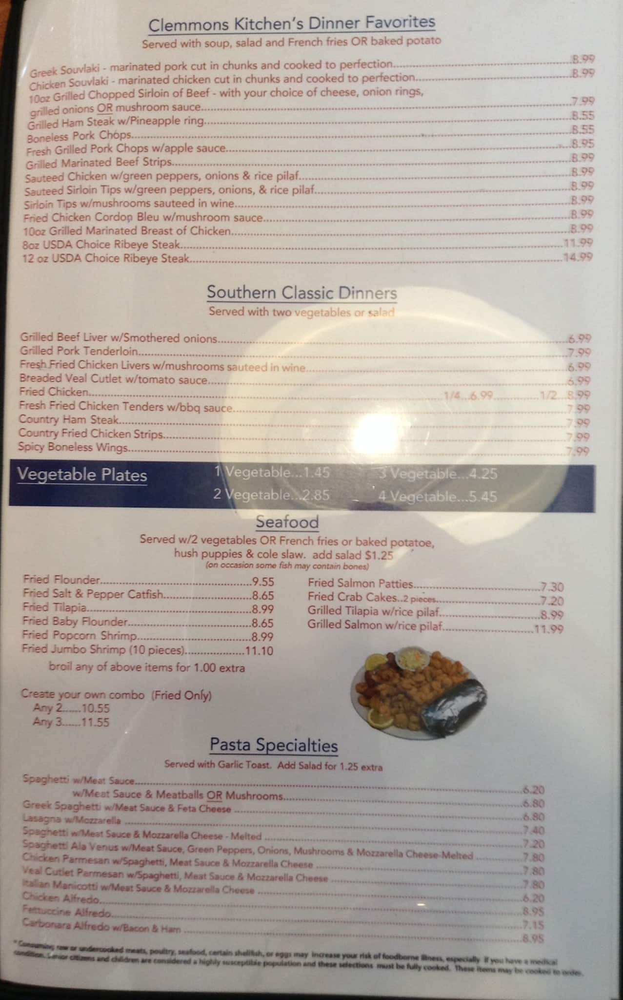 the restaurant information including the clemmons kitchen menu items and prices may have been modified since the last website update - Clemmons Kitchen