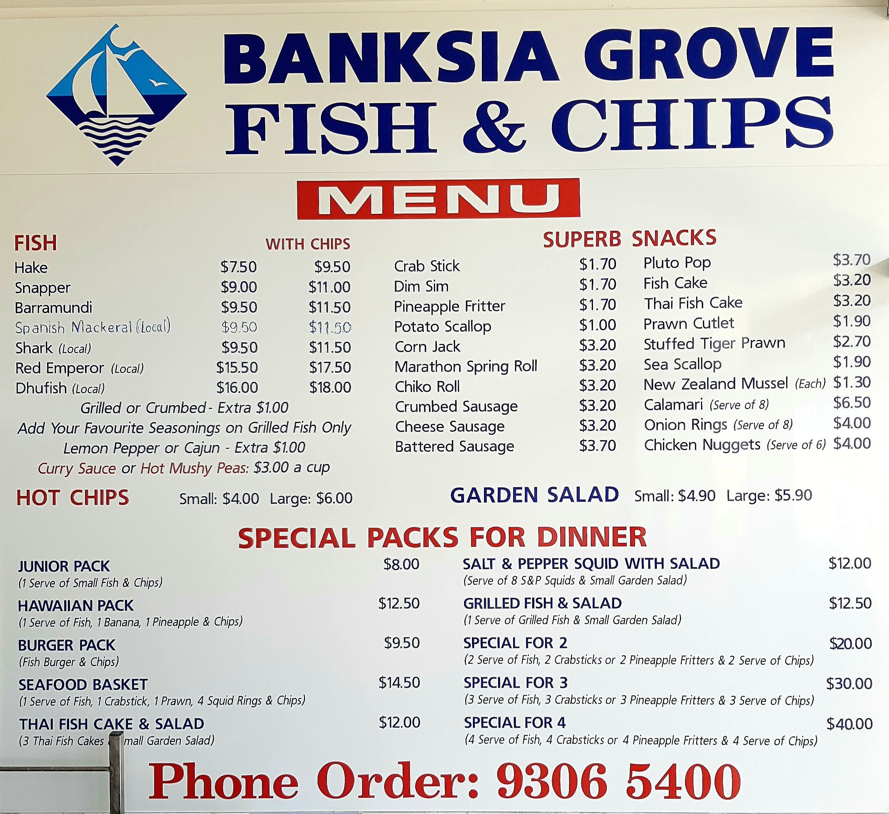 Banksia grove fish chips menu urbanspoon zomato for Seven fishes menu