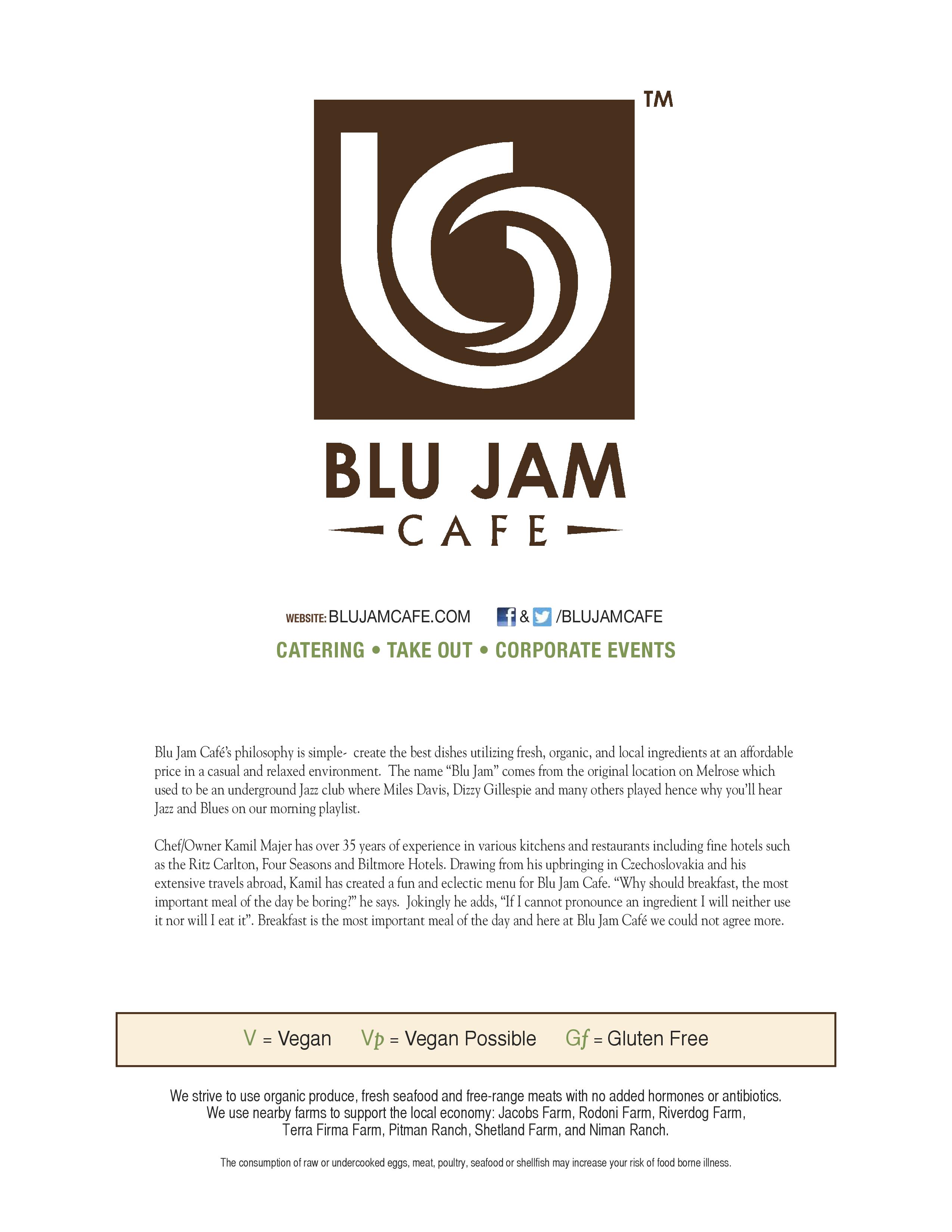 Blu Jam Cafe Menu Prices