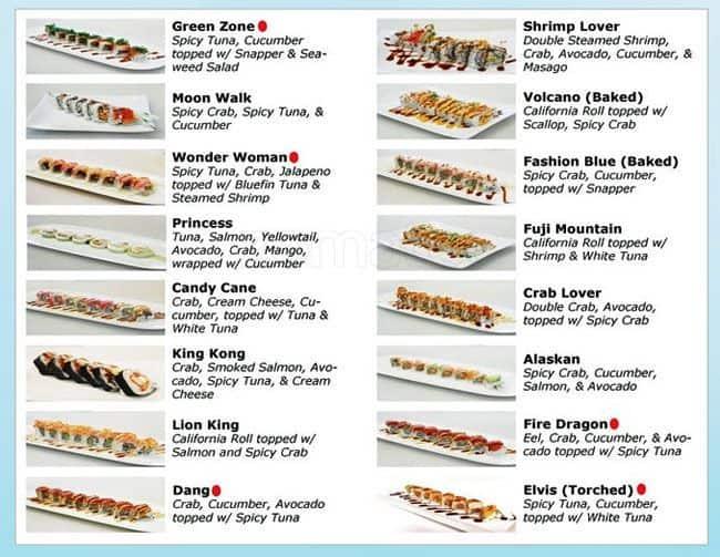 Tsunami Japanese Restaurant Menu