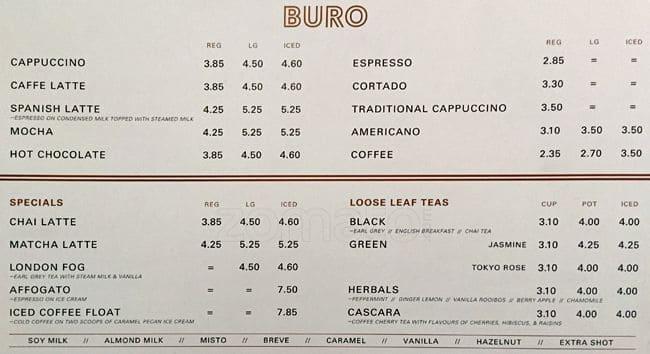 Buro Coffee Menu Menu For Buro Coffee Gastown Vancouver