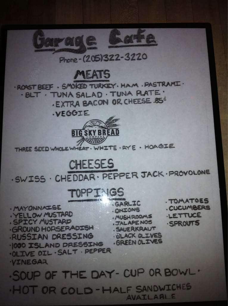 Garage cafe birmingham menu