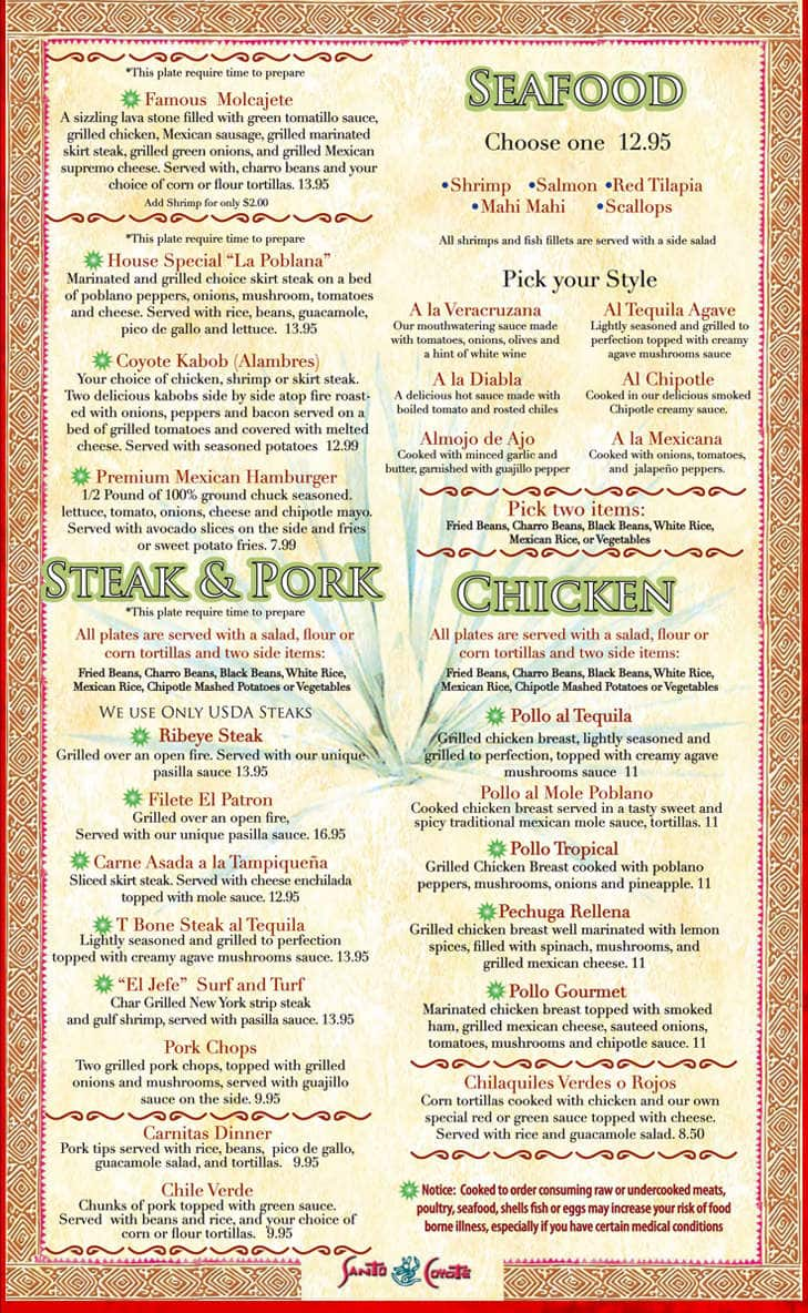 Menu at santo coyote restaurant 2513 mccain boulevard for Senor fish menu