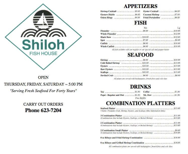 Shiloh fish house menu menu for shiloh fish house for The fish house menu