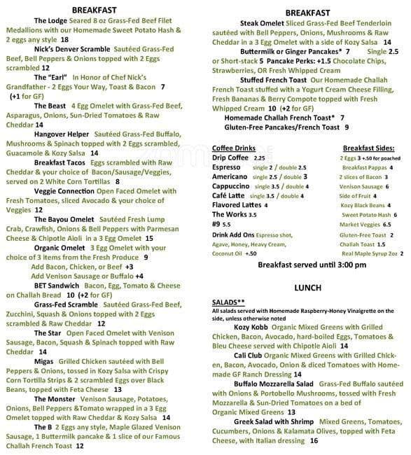 kozy kitchen menu - Kozy Kitchen