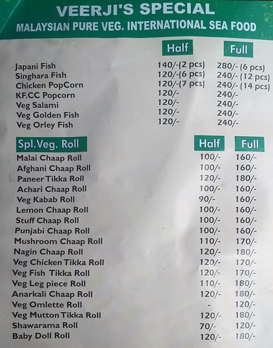 Veer Ji Malai Chaap Wale Menu, Menu for Veer Ji Malai Chaap