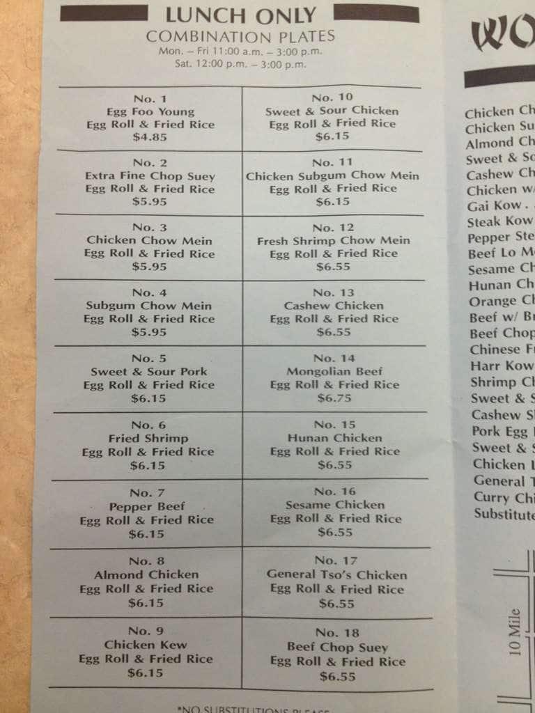 wongs garden saint clair shores menu - Wongs Garden