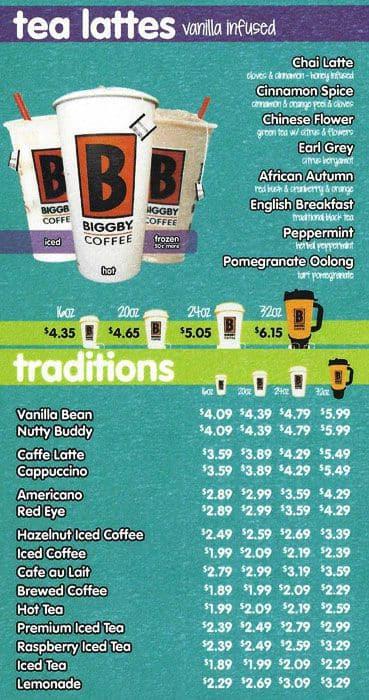 Biggby Coffee Menu Nutrition