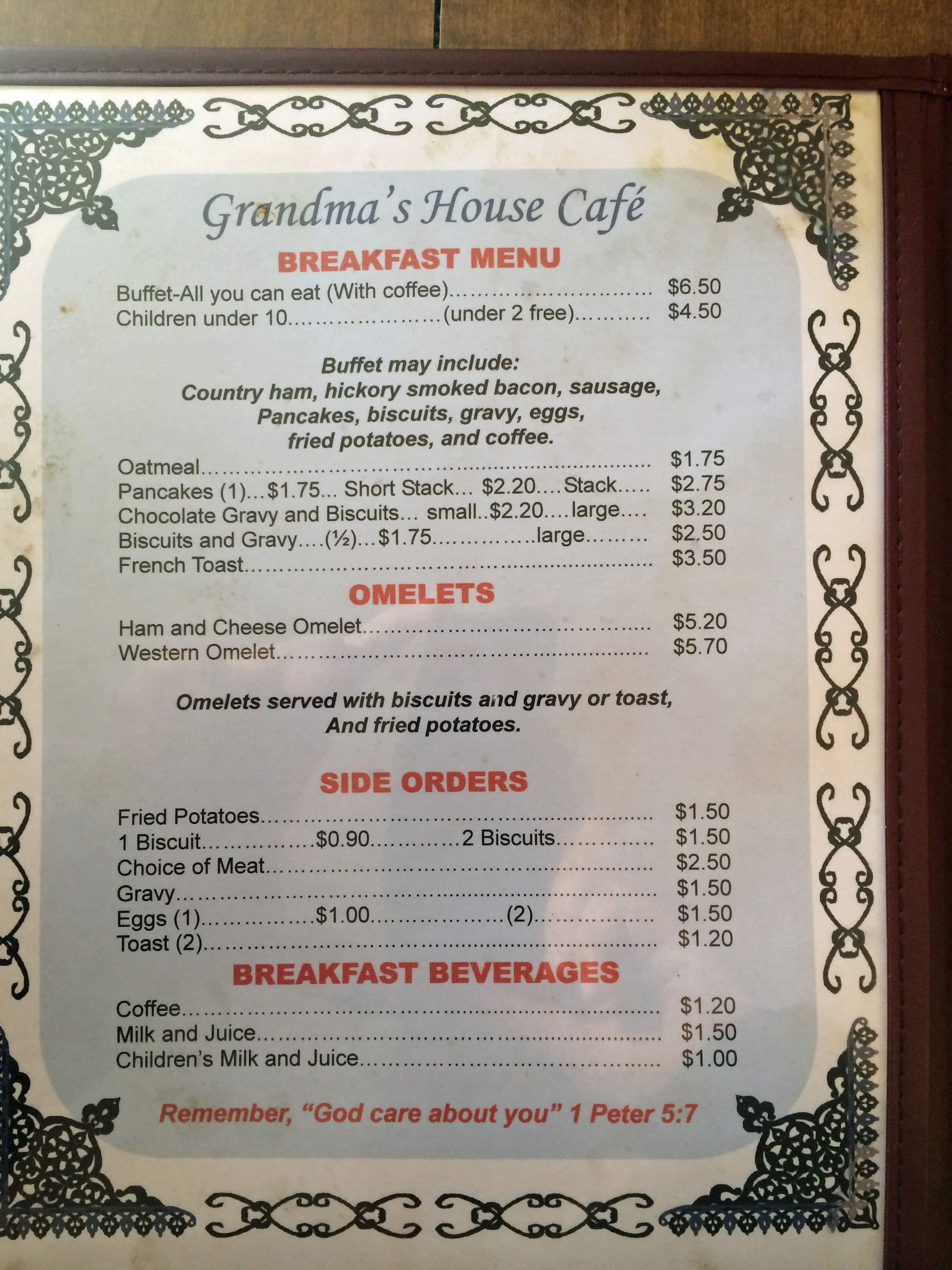 Grandmas House Cafe Menu