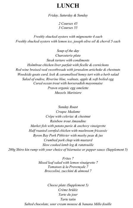Missy French Menu Menu For Missy French Potts Point Sydney