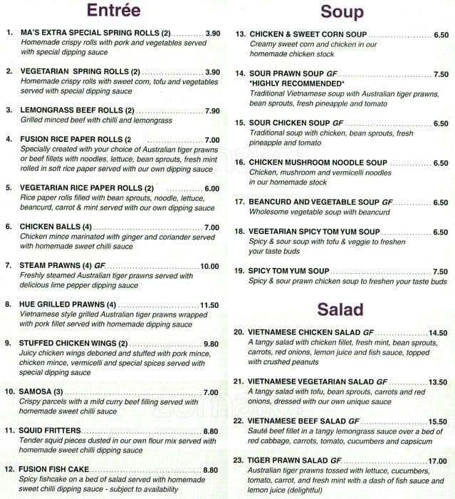 Vietnamese fusion restaurant menu urbanspoon zomato for Australian cuisine menu
