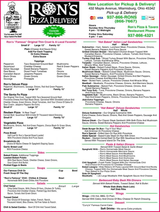 Ronu0027s Pizza U0026 Ribs, Miamisburg Menu