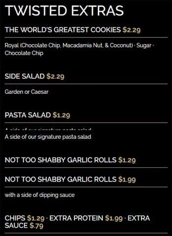 Menu at Twisted Kitchen restaurant, Atlanta