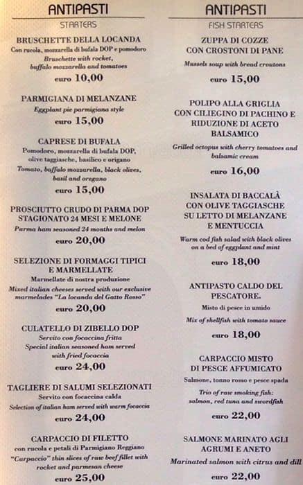 La Locanda Del Gatto Rosso A Milano Foto Del Menu Con Prezzi