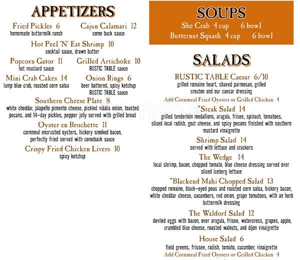 Rustic table restaurant pawleys island menu designer for Table table restaurant menu