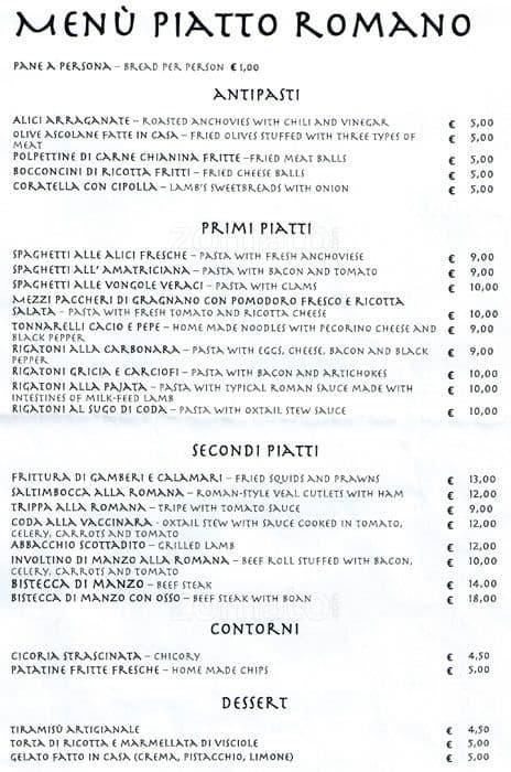 piatto romano a roma foto del menu con prezzi zomato italia