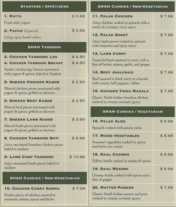 Shah Restaurant Sunnyvale Menu