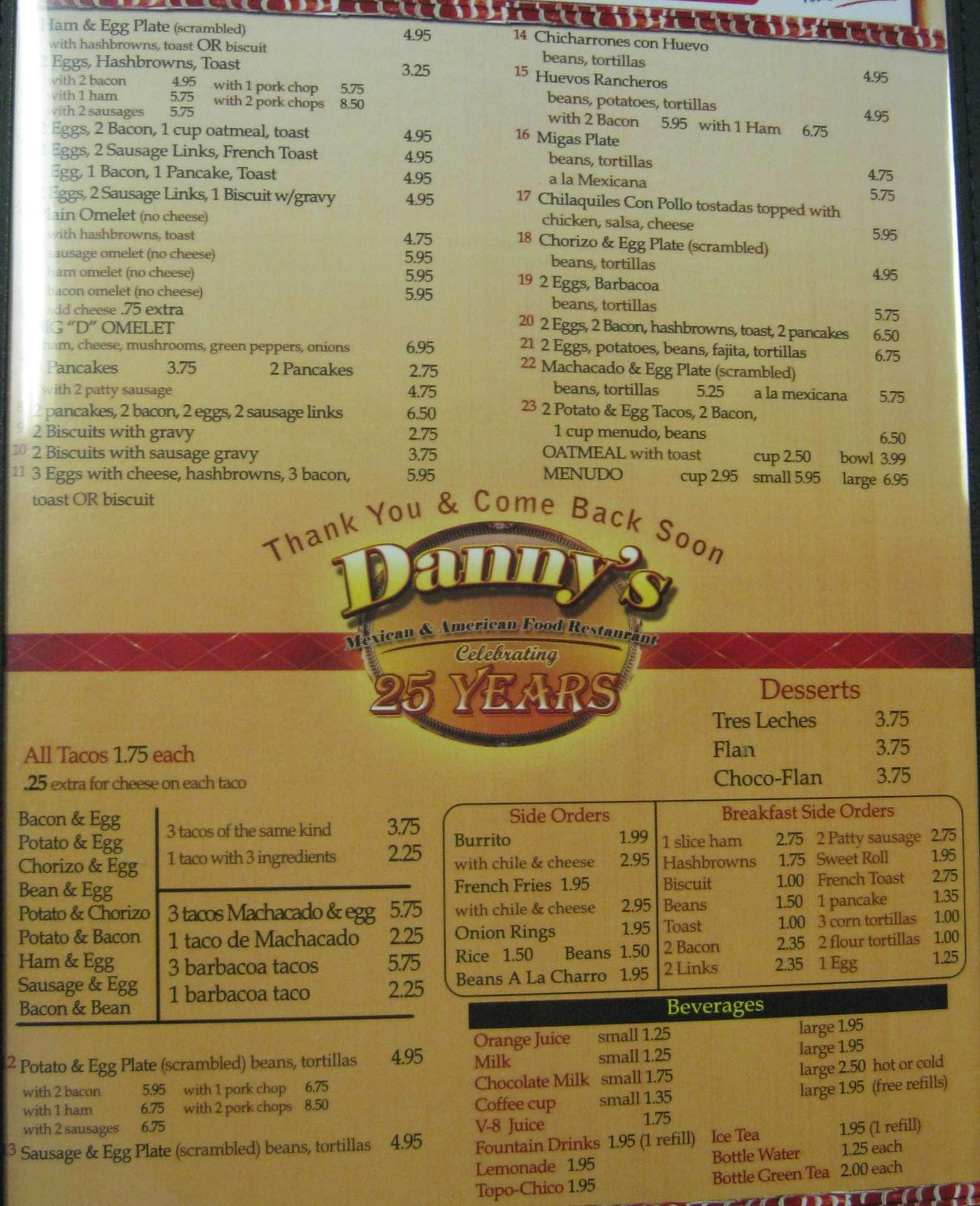 Danny S Mexican Restaurant Menu