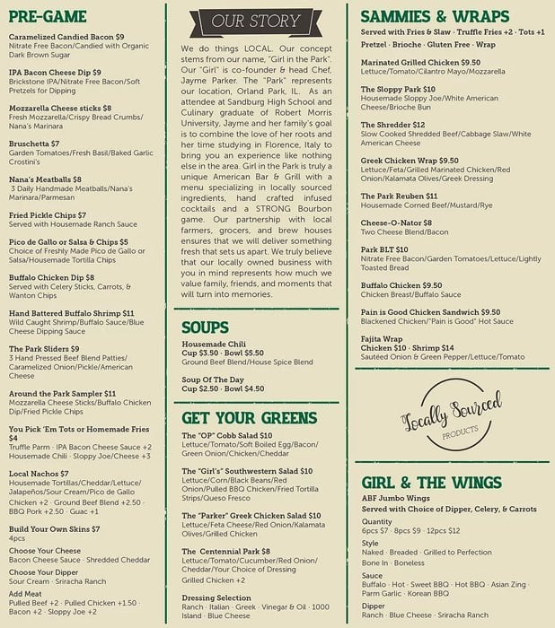 Girl In The Park Menu Menu For Girl In The Park Orland