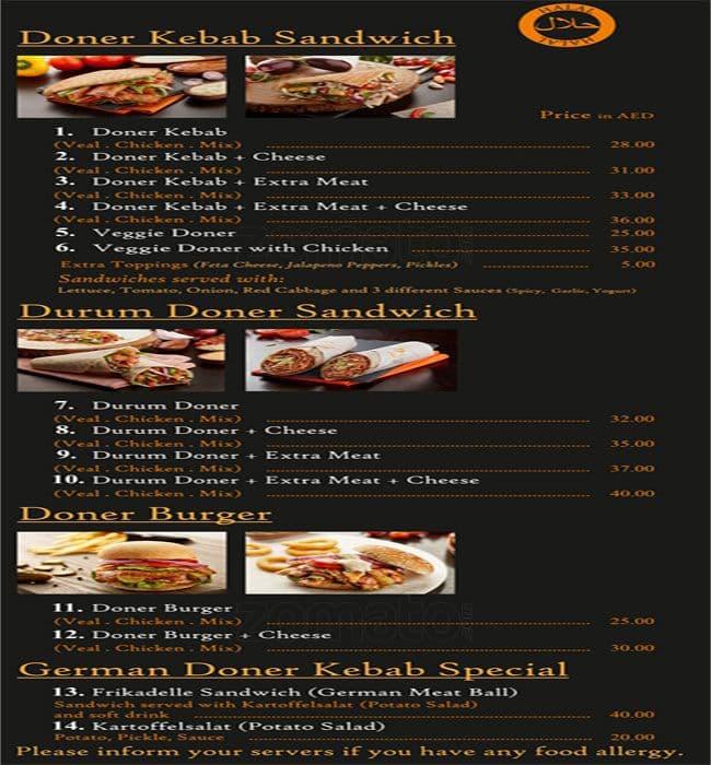 Doner Kebab Menu Menu For Doner Kebab Ajman Industrial
