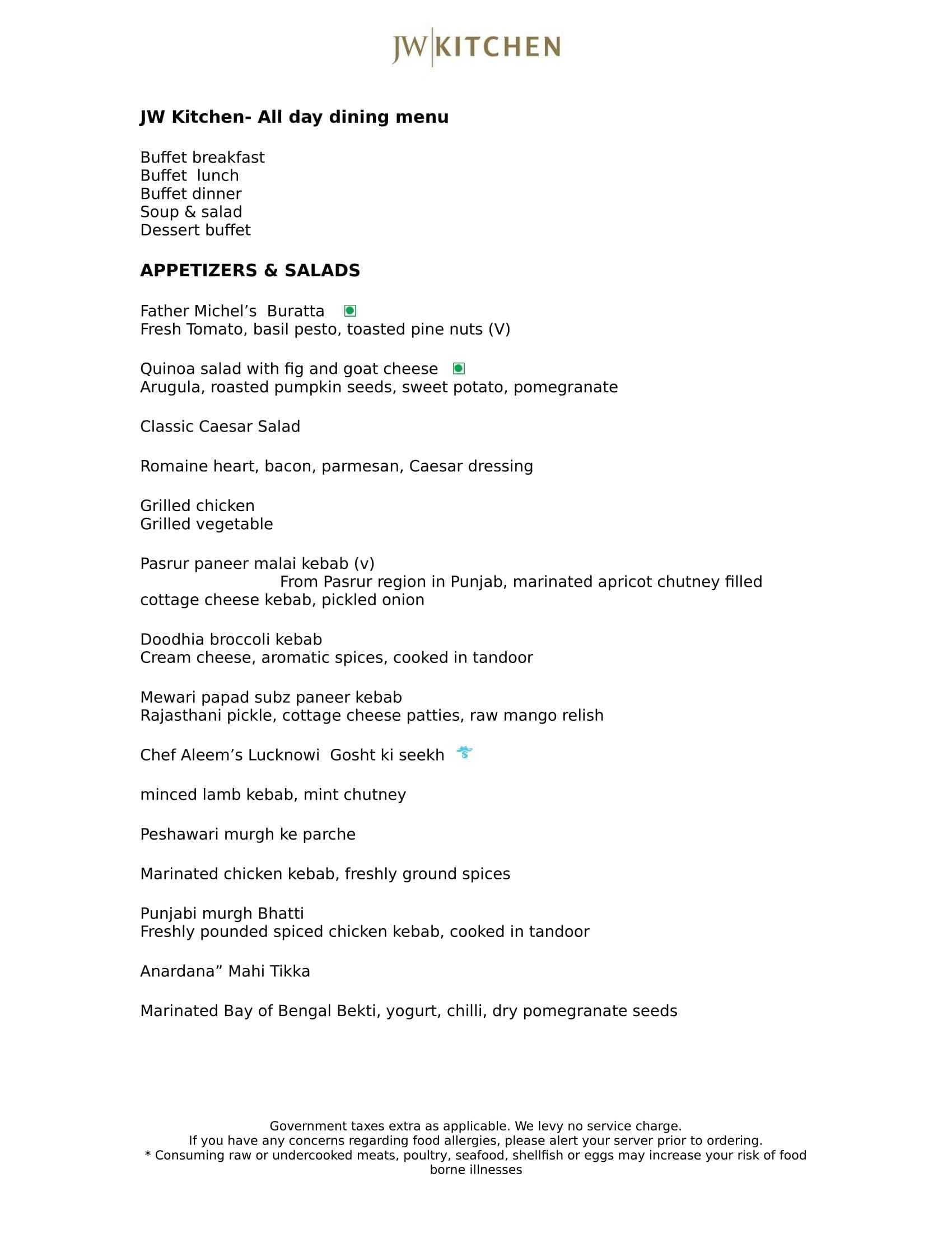 jw kitchen jw marriott hotel kolkata menu zomato