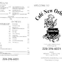 Cafe New Orleans Diberville Ms Menu
