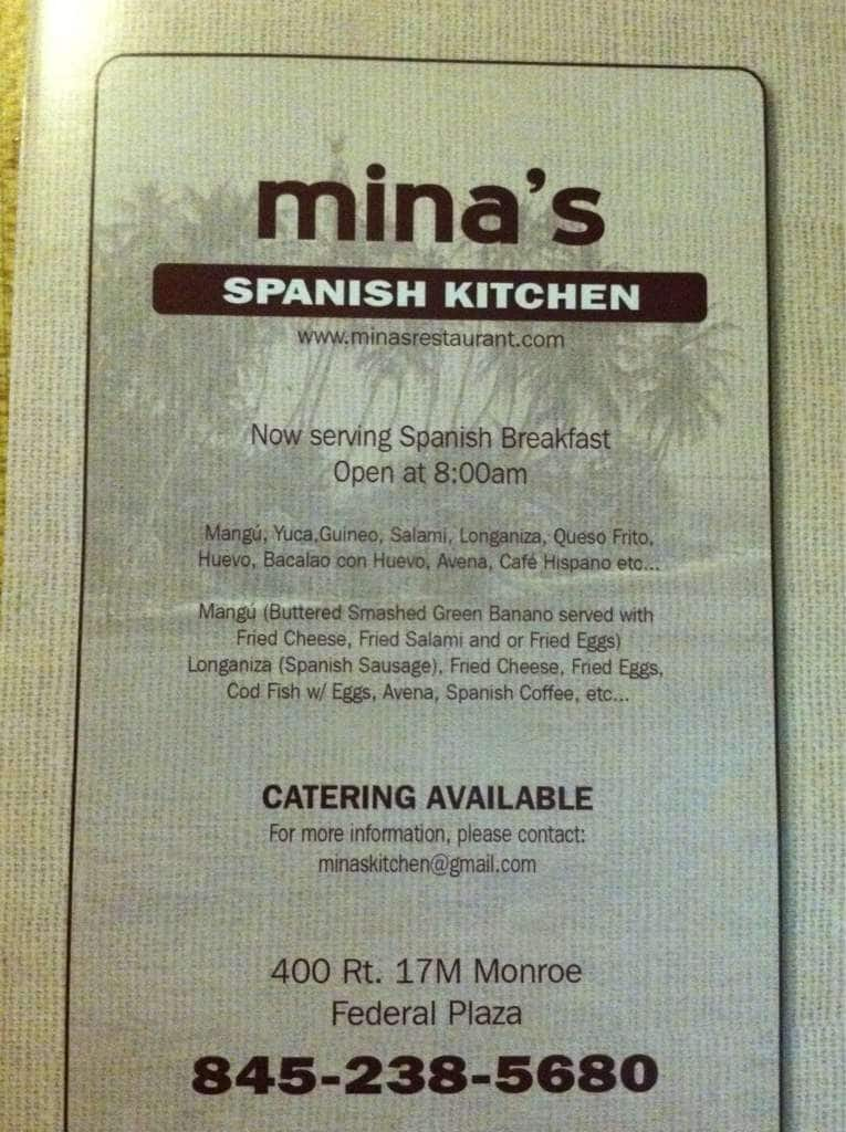 Menu at Mina\'s Spanish Kitchen, 400 NY-17M - Restaurant prices