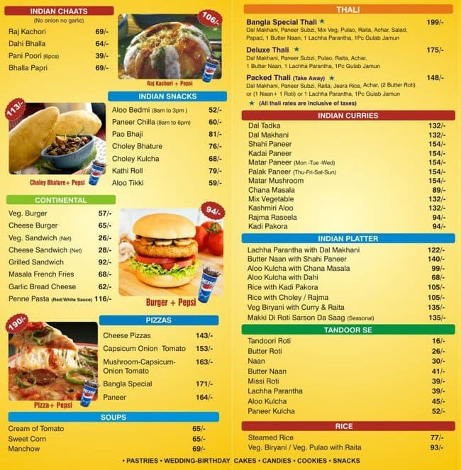Bangla Foods Menu, Menu For Bangla Foods, Gole Market, New Delhi