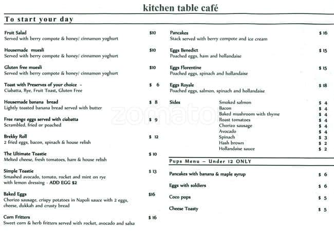 Kitchen Table Cafe Menu Menu For Kitchen Table Cafe Aspendale - The kitchen table menu