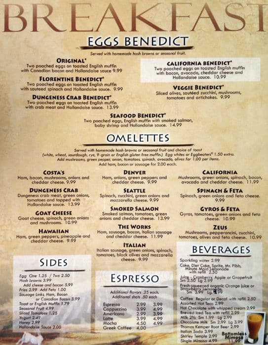Costas Restaurant Menu