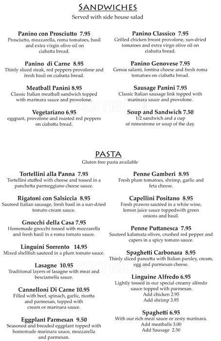 Scanned Menu For Massimo Italian Bar U0026amp; ...