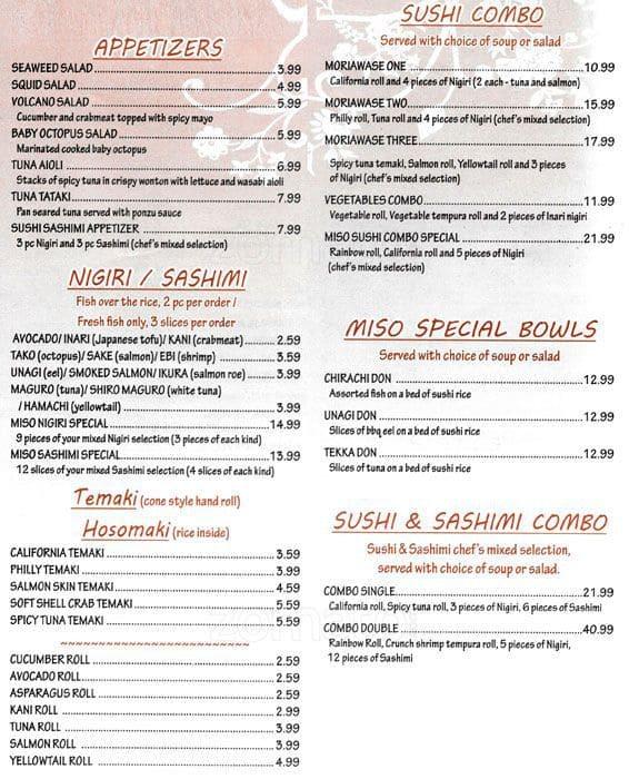 Wasabi Cafe Concord Menu
