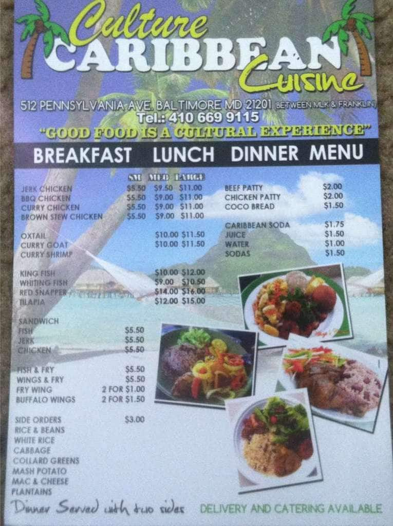 Culture Caribbean Cuisine Menu