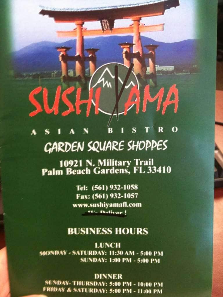 Menu at Sushi Yama restaurant, Palm Beach Gardens, N Military Trl