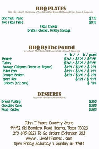 Scanned Menu For John T. Floore Country Store