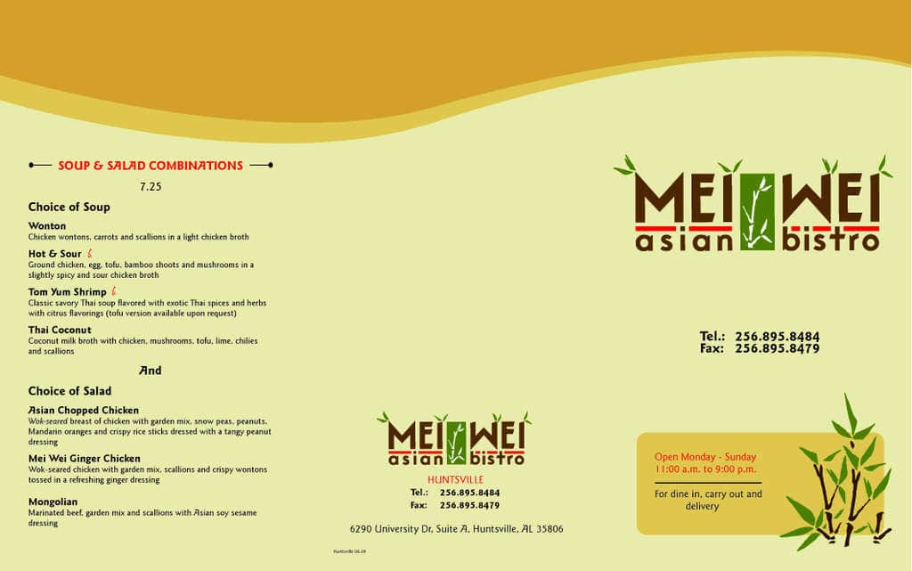 Mei Wei Asian Bistro Menu
